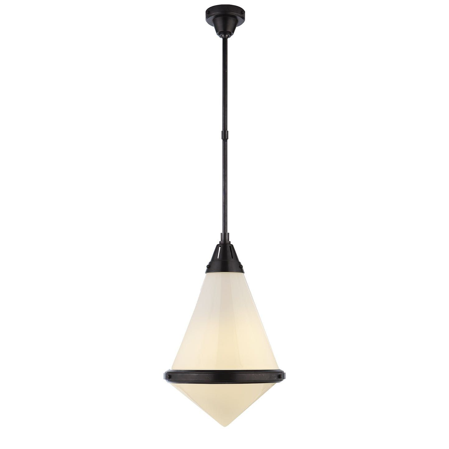 Gale Large Pendant In Bronze With White Glass  Avenue