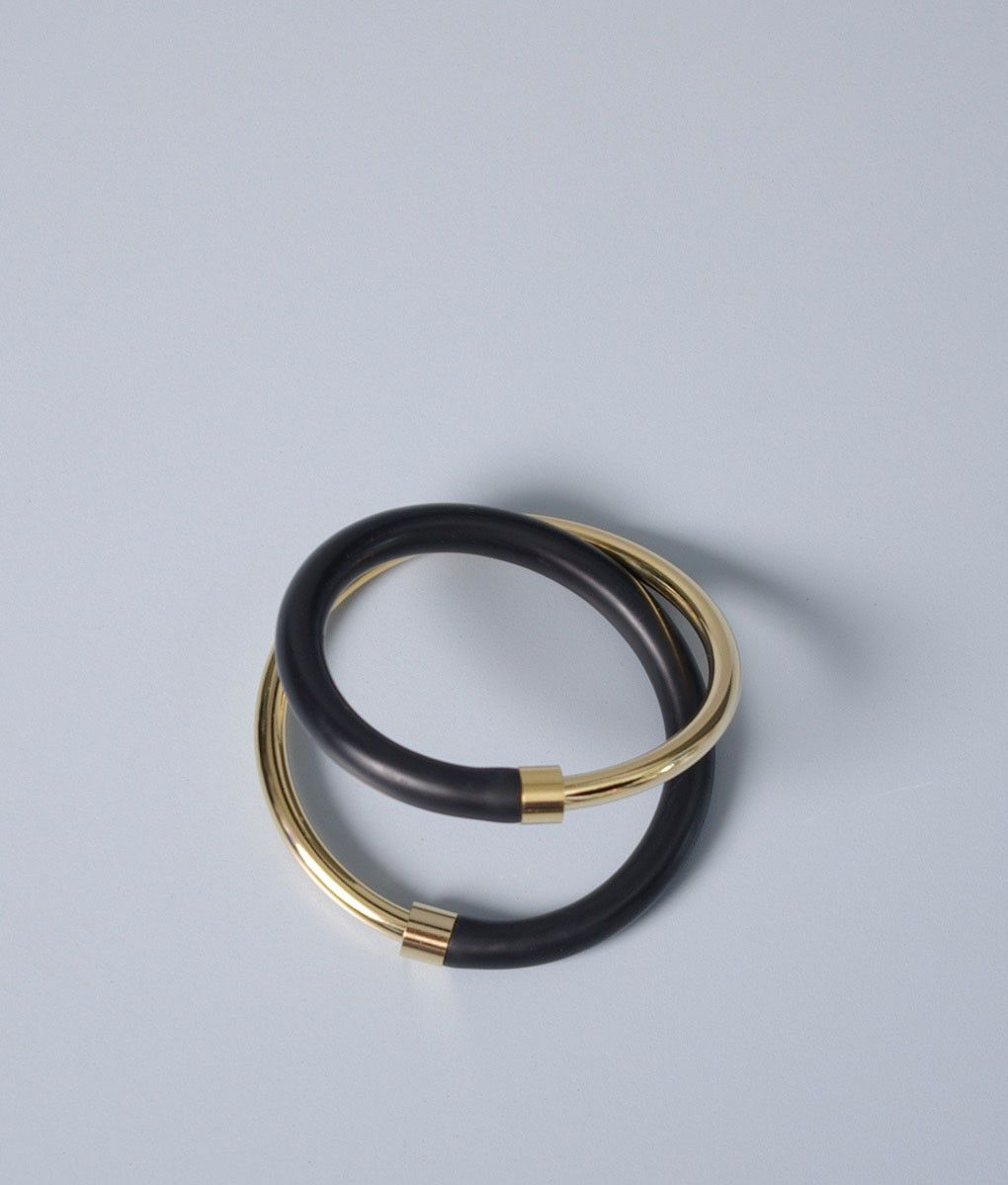 FAUX/real - Infinity Checkout Bracelet, Black/Gold  #Faux #Real #Jewellery #Accessoires #Fashion #Womenswear #Style #Look #Gold #Rubber #Material #Mix
