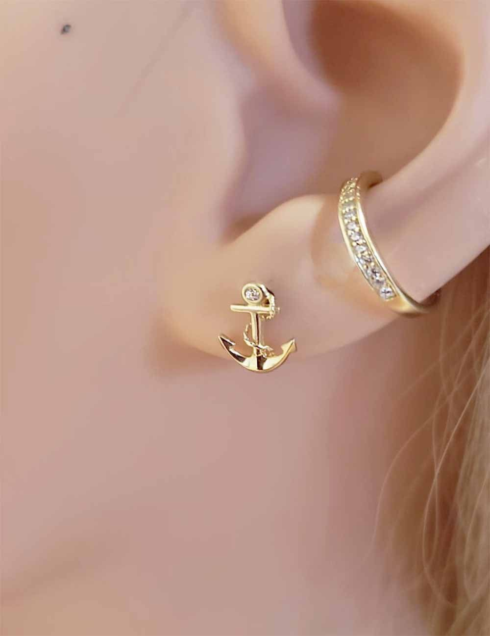 Anchor Ear Studs Nautical Earrings 14kt Solid Gold Jewelry Dainty By