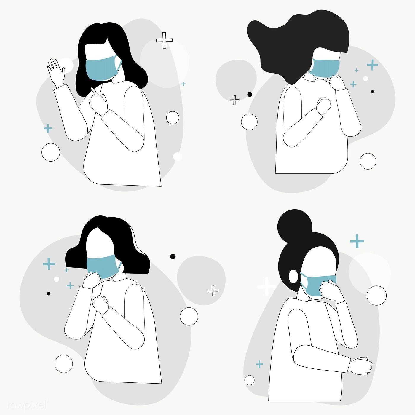 People Wearing Protective Medical Face Masks Design Element Set Transparent Png Free Image By Ra Mask Design Illustration Character Design Free Illustrations
