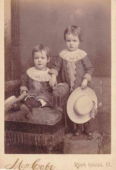 Cabinet Card Photo Identical Twin Boys Rock Island Illinois McCabe Photographer