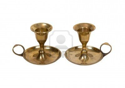 Antique brass candle holders with circle handles and wax catchers - path included