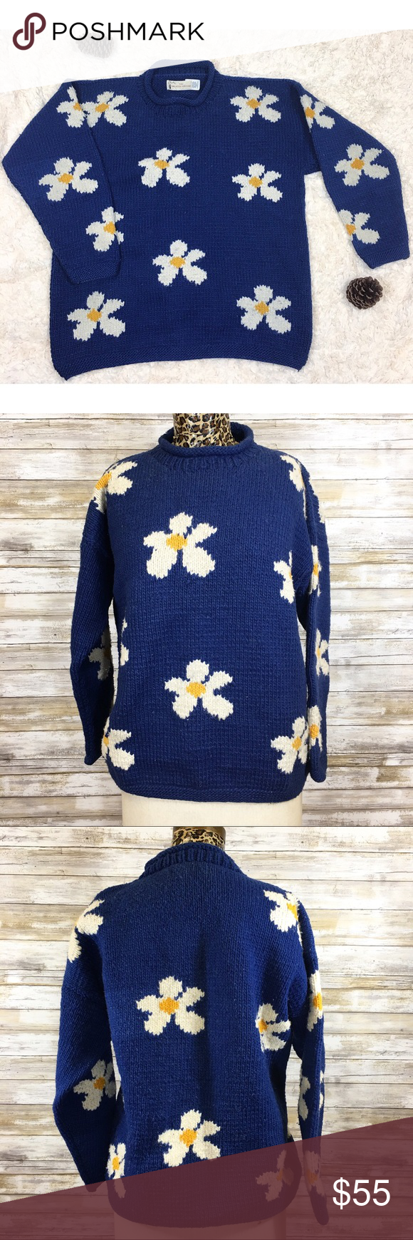 """Abstract 90's Mod Daisy 100% Ecuador Wool Sweater Shield yourself from sub-zeroes with sunshine and daisies with this ultra mod 100% wool, extra thick and cozy sweater handknit in Ecuador.  No size tag. Pullover. Condition: pre-owned. A little piling.  There is pet hair in this sweater so it was previously owned by someone with a pet, because of the way it is knit, some of it has become """"one with the sweater."""" I did pull a lot of it off though. ❤️ Measurements (flat): Armpit to armpit: 24""""…"""