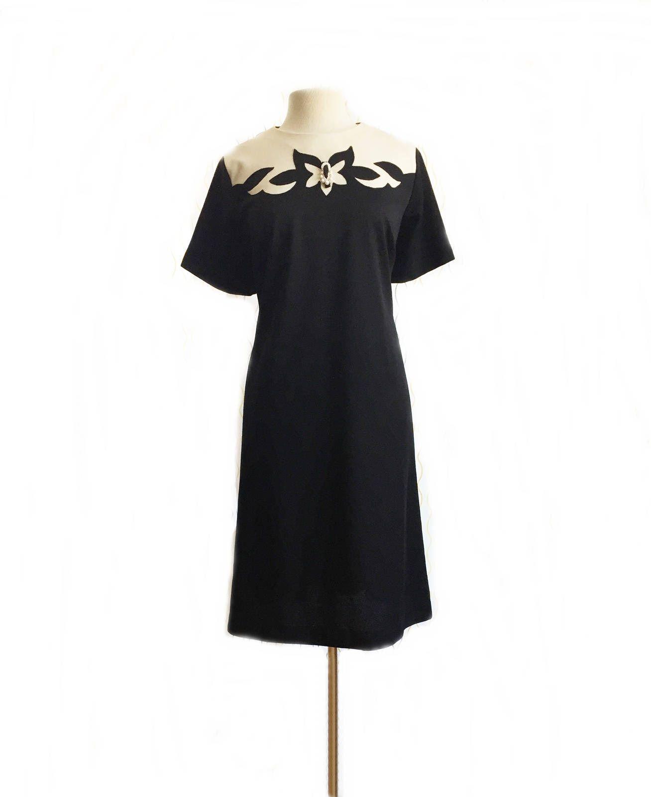 Vintage 60s shift dress/ black & white preppy dress/ abstract cutout ...