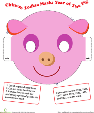 make a chinese zodiac mask year of the pig chinese zodiac zodiac and worksheets. Black Bedroom Furniture Sets. Home Design Ideas
