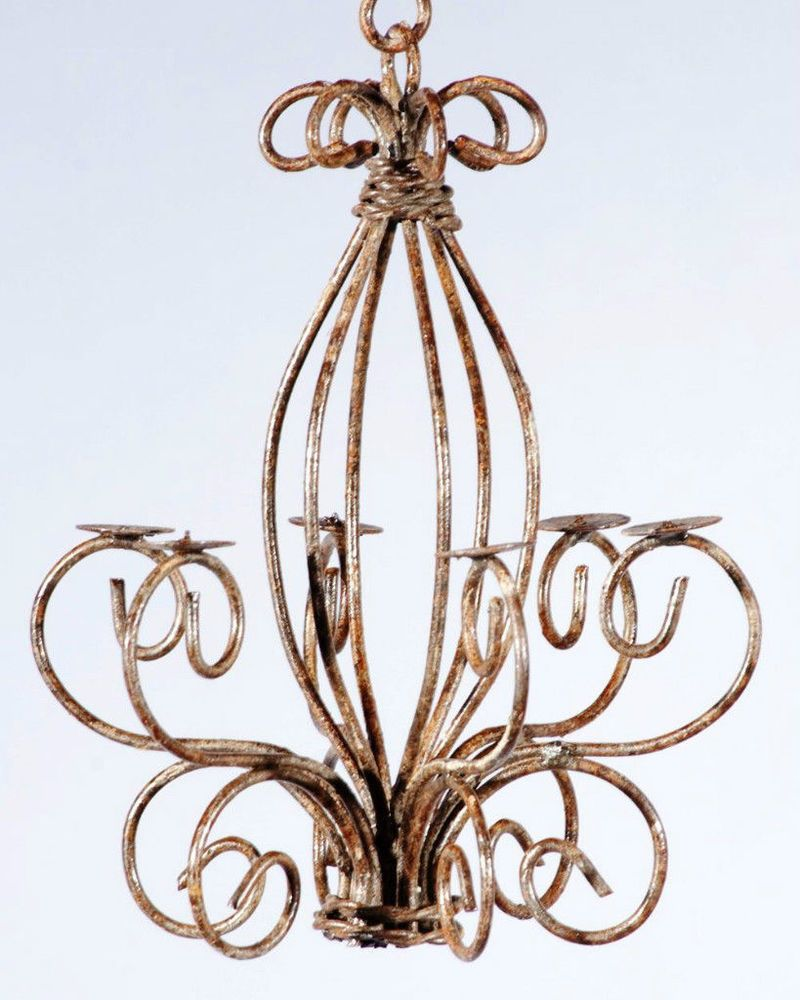 Details about Wrought Iron Country Candle Chandelier Small for – Wrought Iron Candle Chandelier