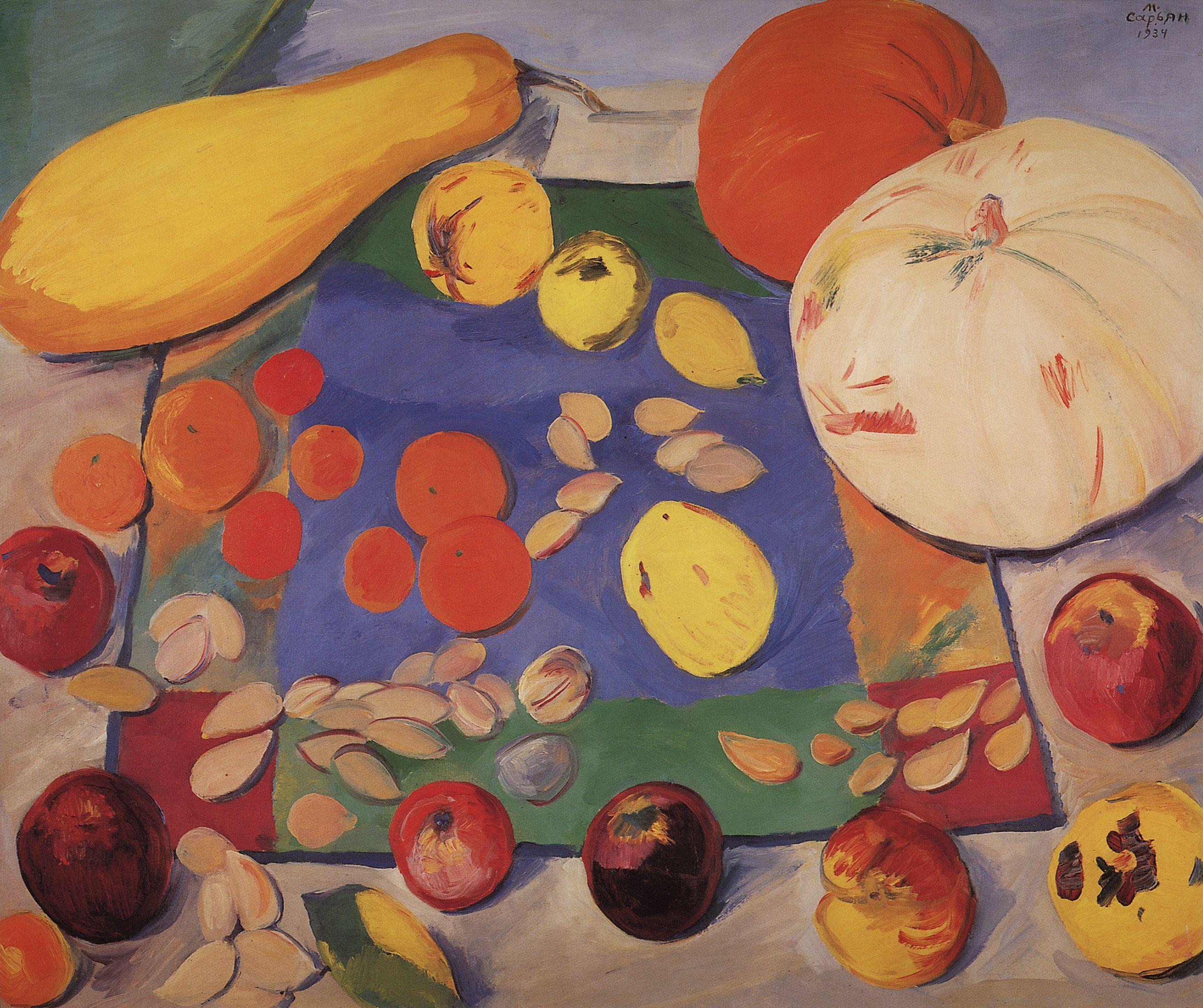 Сарьян. Фрукты и овощи. Натюрморт. 1934 | Краска, Живопись