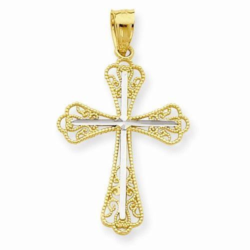 1.18 in x 0.63 in 10K Gold /& Rhodium Filigree Crucifix Pendant