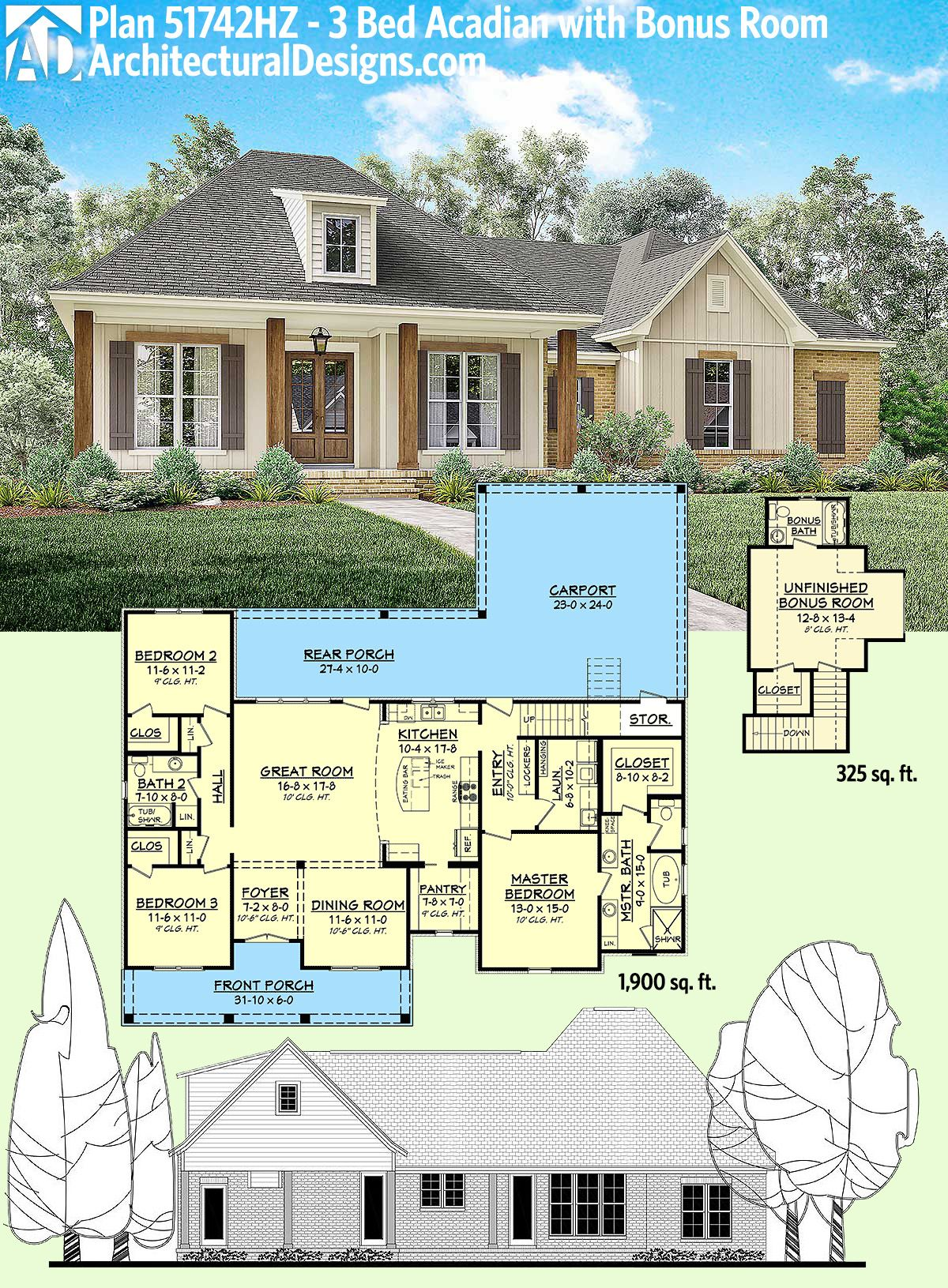 Plan 51742hz 3 bed acadian home plan with bonus over for Garage plans with bonus room