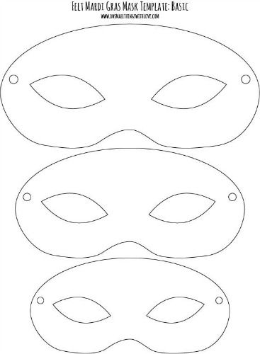 Felt Mardi Gras Masks for Kids free printable | Mask template
