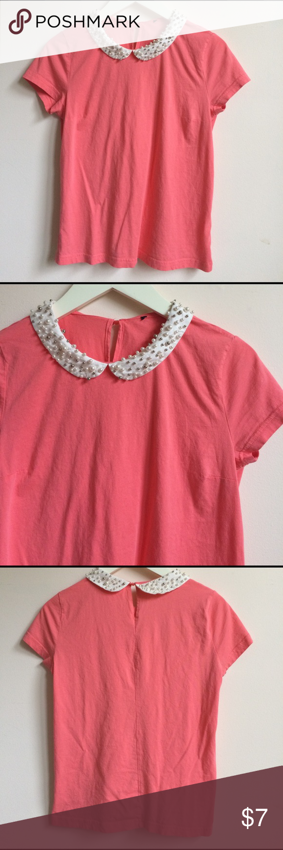 "Collard Shirt Beaded collard shirt with darts. length: 22"" NOT ANTHRO BRAND similar item Anthropologie Tops"