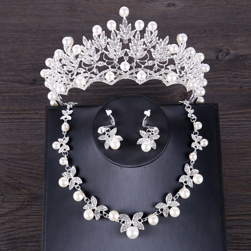 FORSEVEN Luxury Simulated Pearl Wedding Jewelry Set Silver Color Crystal Bride Crown Tiara Butterf Necklace Earring Sets Jewelry