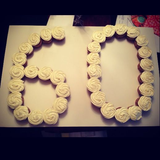 60th Birthday Pull Apart Cupcake Cake In 2019 60th
