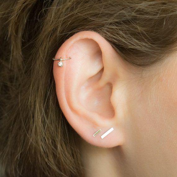 0aefab064 CZ Helix Piercing- Tiny Helix Earring Hoop- Helix Dangling Earring- Silver  Helix Dangle- Helix Carti