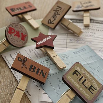 Filing pegs - cute & brilliant at the same time