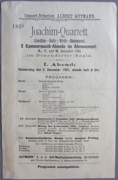 Joachim Quartett  Joachim Joseph  Concert Program Vienna