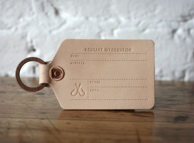 Corter Leather Luggage Tag >> It's handmade of natural leather in New England and attaches with a custom Corter split ring. It doesn't suck. It's actually pretty cool as far as luggage tags go, and that's saying a lot.