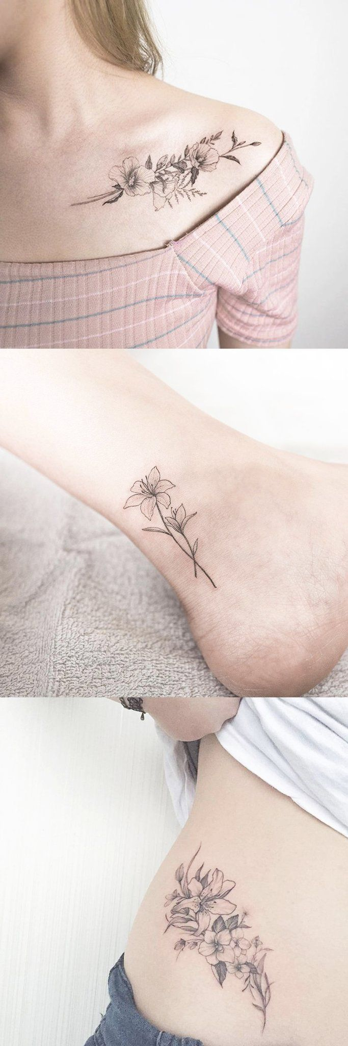 Delicate Sketched Flower Shoulder Tattoo Ideas – Wild Realistic Floral Ankle Tatt – MyBodiArt.com