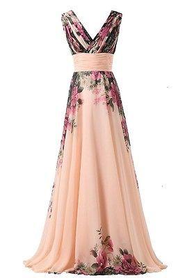 7ad097166909 abito da cerimonia donna in chiffon damigella vestito lungo elegante  floreale in Abbigliamento e accessori