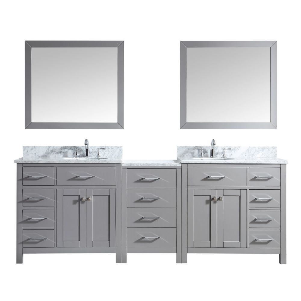 Photo of Caroline Parkway 93-inch Double Vanity in Cashmere Grey with Marble Top, Round Sink, Mirrors