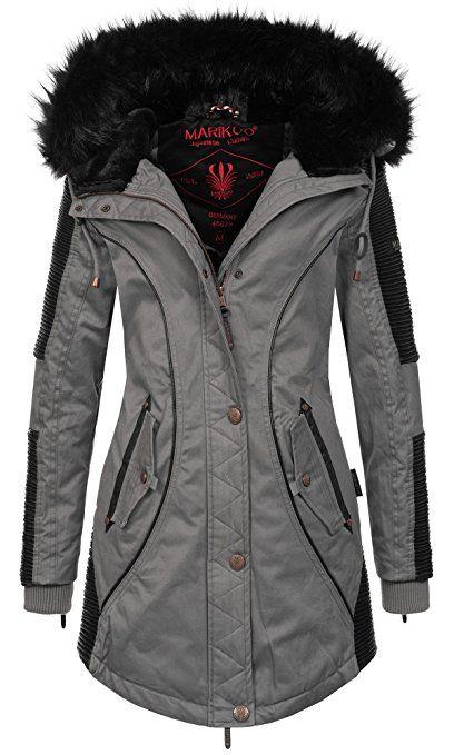 Marikoo Designer Damen Winter Parka warme Winterjacke Mantel