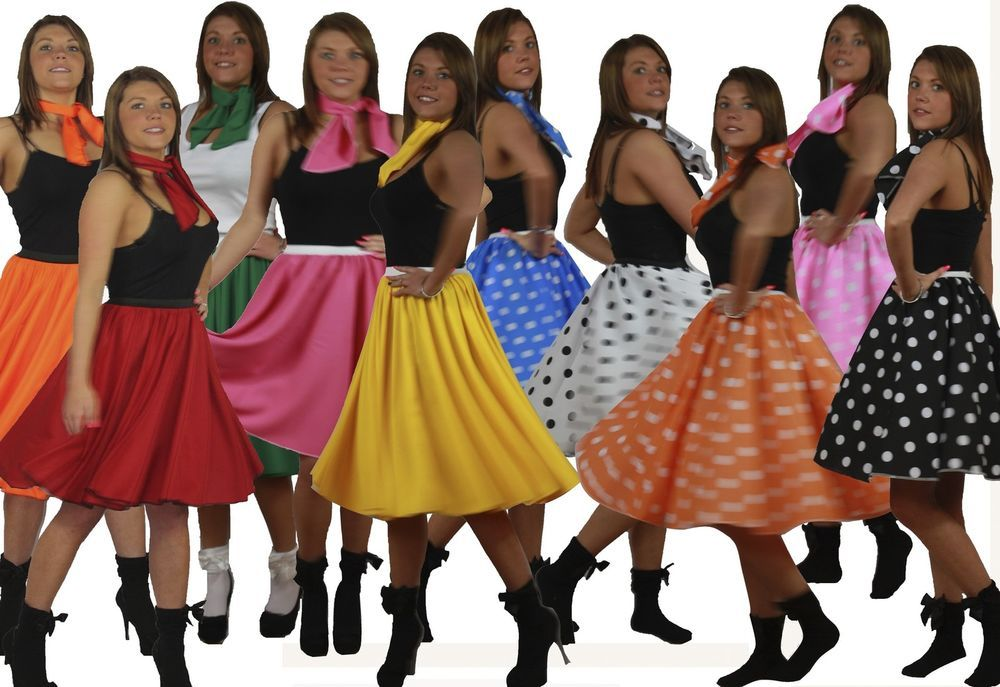 c43884541ab3 1950s 1960s Rock & Roll Skirts 50s Full Circle Skirt & Scarf Set 22 inch