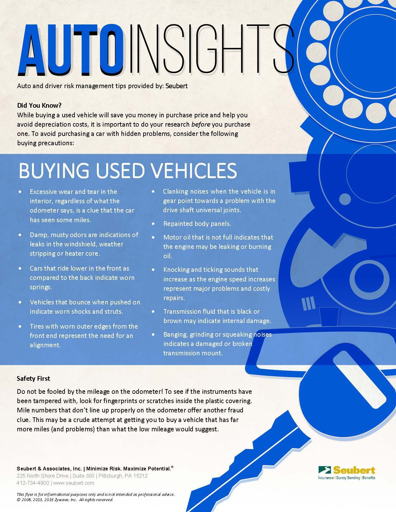Auto insights buying used vehicles driving driving