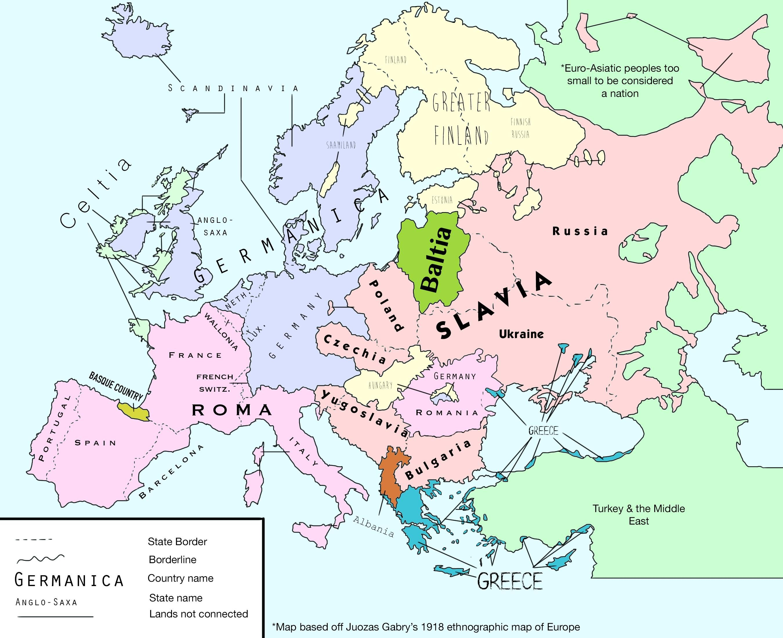1918 European map based off Juozas Gabry\'s rather exaggerated ...