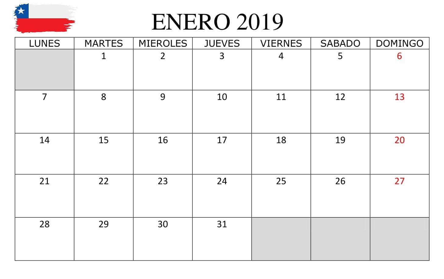 Calendario Diciembre 2019 Chile.Calendario Enero 2019 Chile Calendario Enero 2019 Chile