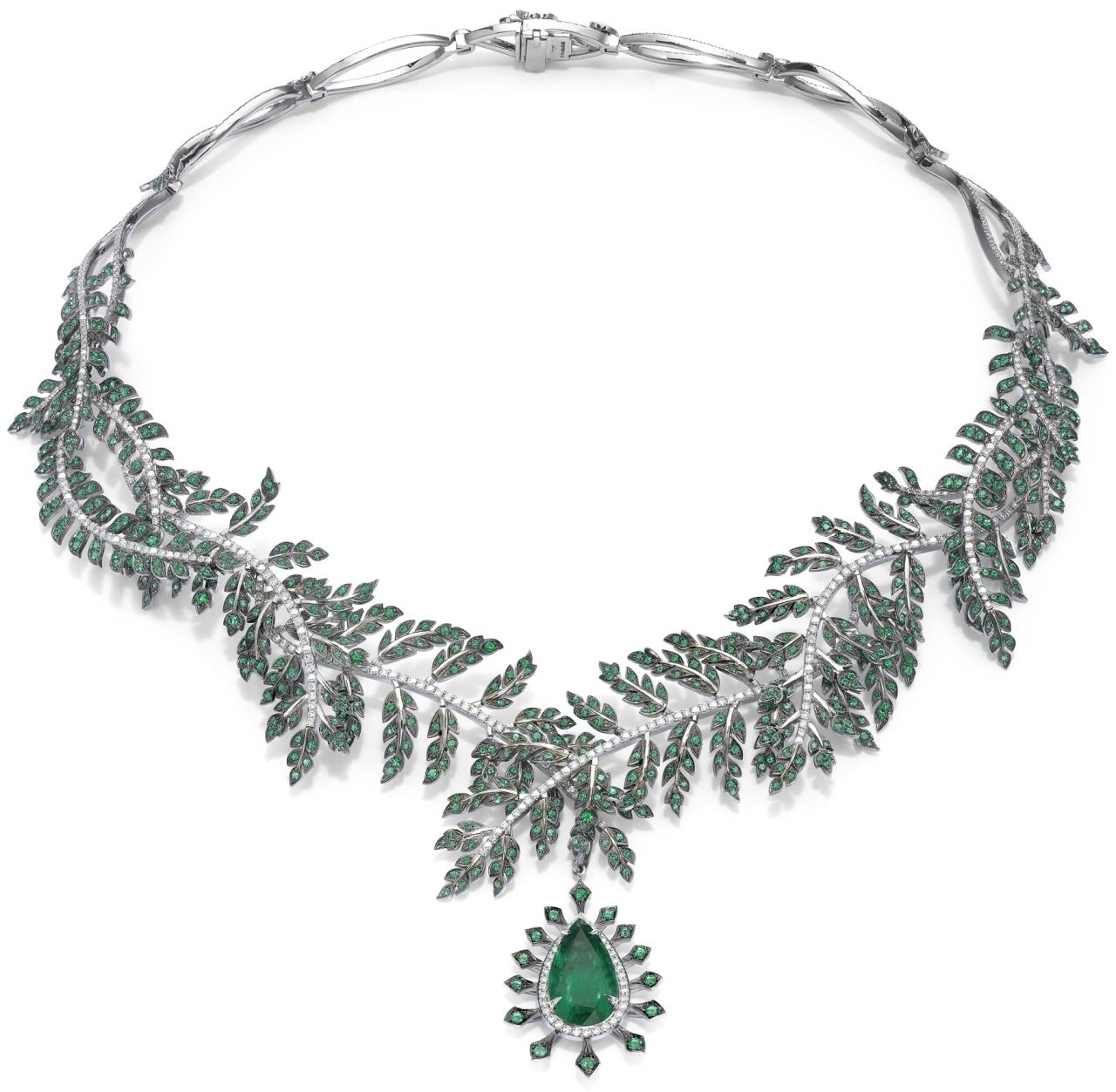 Asprey fern necklace with emerald pendant the fern necklace with