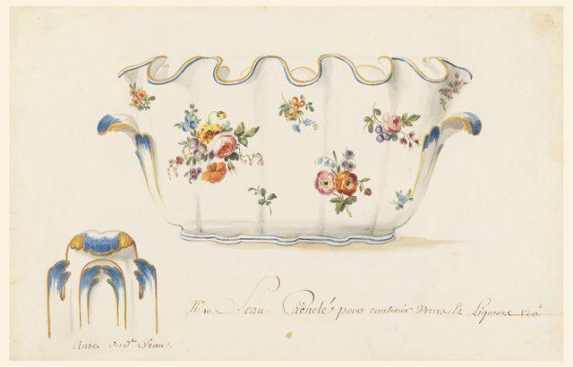 Drawing, Design for a Verrière (Monteith), for Sèvres Porcelain Manufactory, Paris, 1765–75