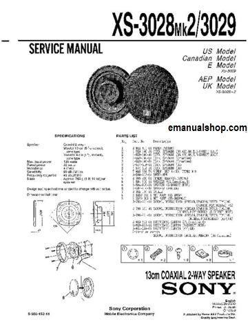 SONY 13cm Coaxial 2-Way Speaker XS3029 Service Manual