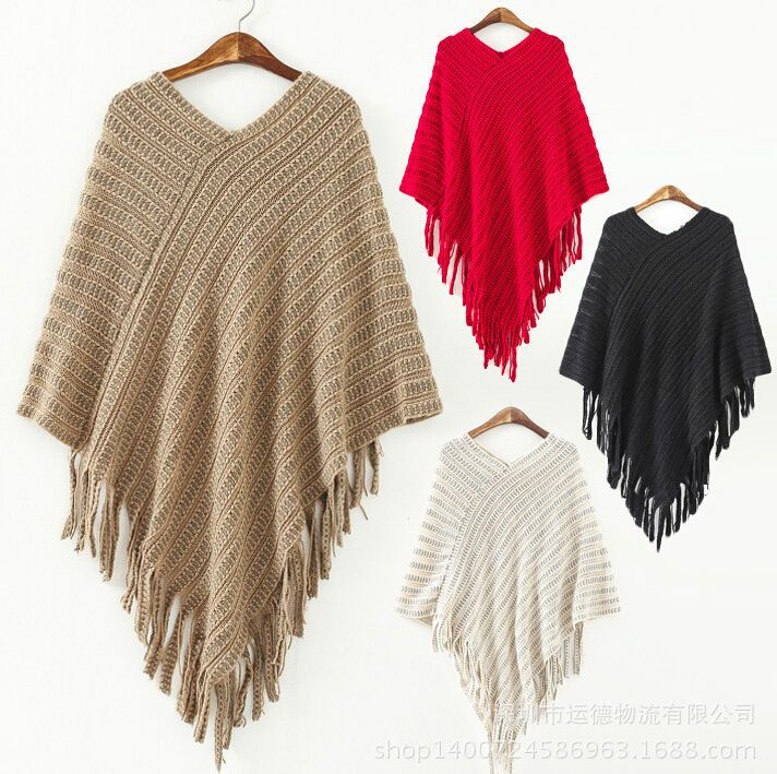 Ladies Poncho Jumper Womens Knitted Cape Sweater Winter Top Check Pullover  Shawl