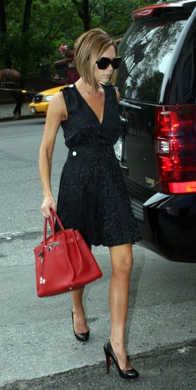 Marc by Marc Jacobs wild cherry dress with Hermes Birkin bag and Louboutin .........