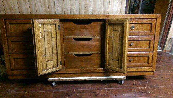 Jus funished this dresser, the inside of the doors is how it used to look.