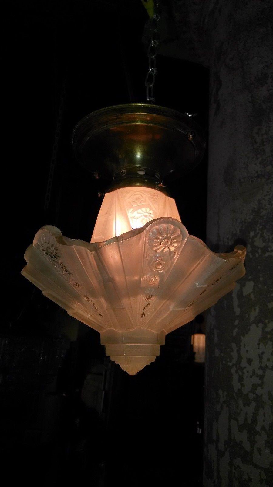 Antique Art Deco Light Fixture CONSOLIDATED Martele Slip Shade Glass Chandelier | eBay