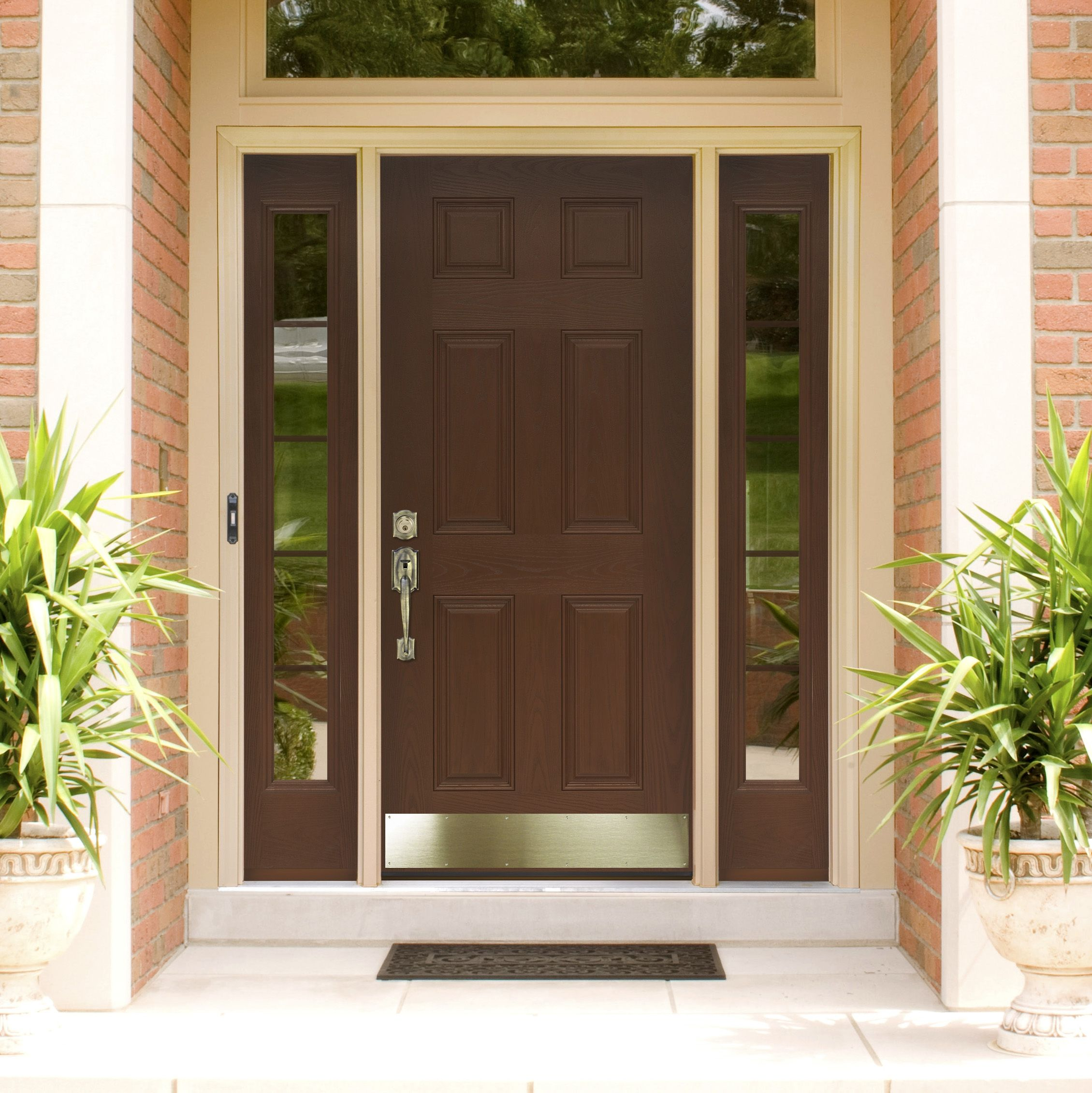 Exquisite brown mahogany 6 panels craftsman single modern for Exterior entry doors with glass