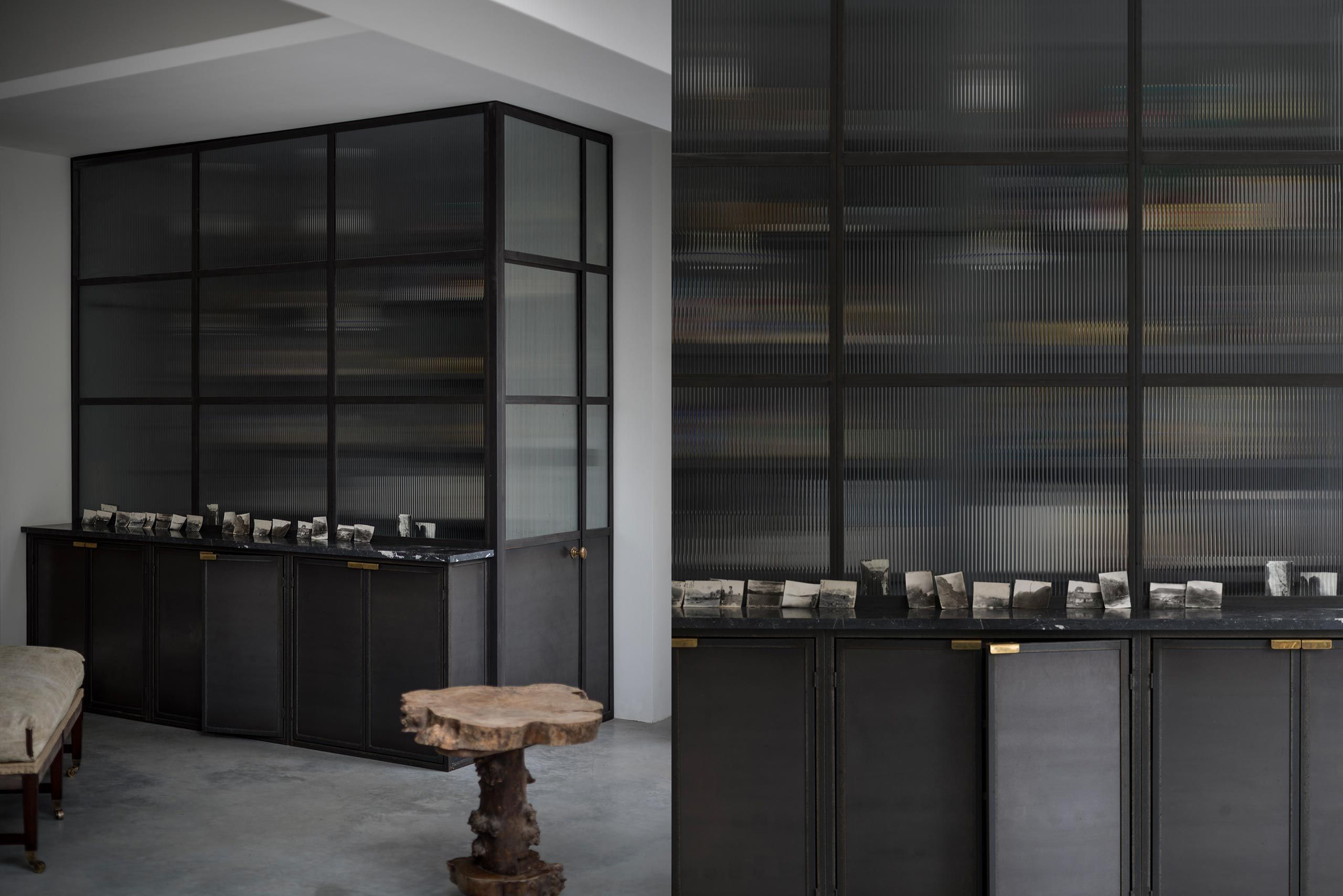 Opaque Reeded Glass Fronted Walk In Metal Kitchen/pantry Cupboards  Alongside Ouru2026