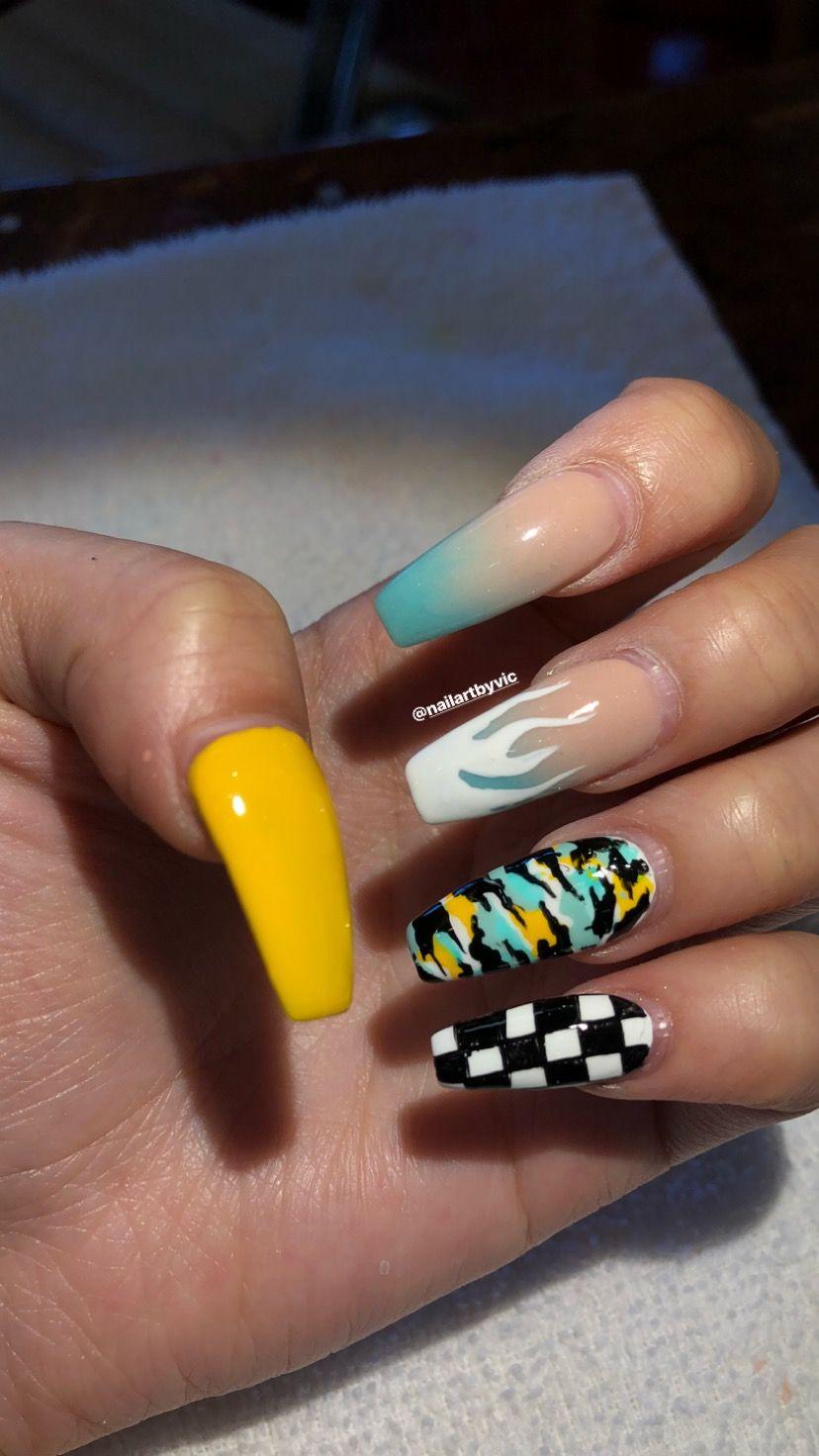 Ombre Checkered Flames Camo Nails Camo Nails Acrylic Nails Long Acrylic Nails