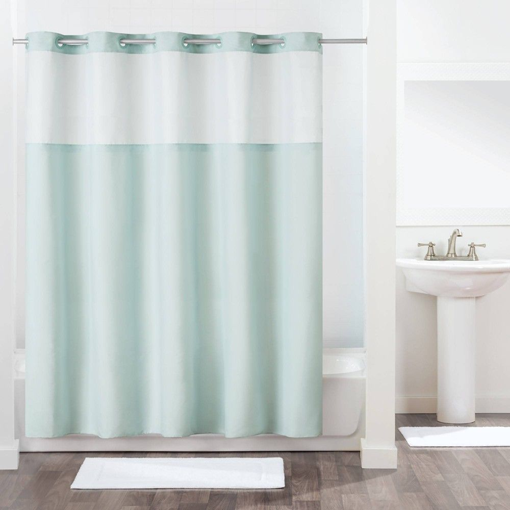Antigo Shower Curtain With Fabric Liner Blue Hookless Curtains