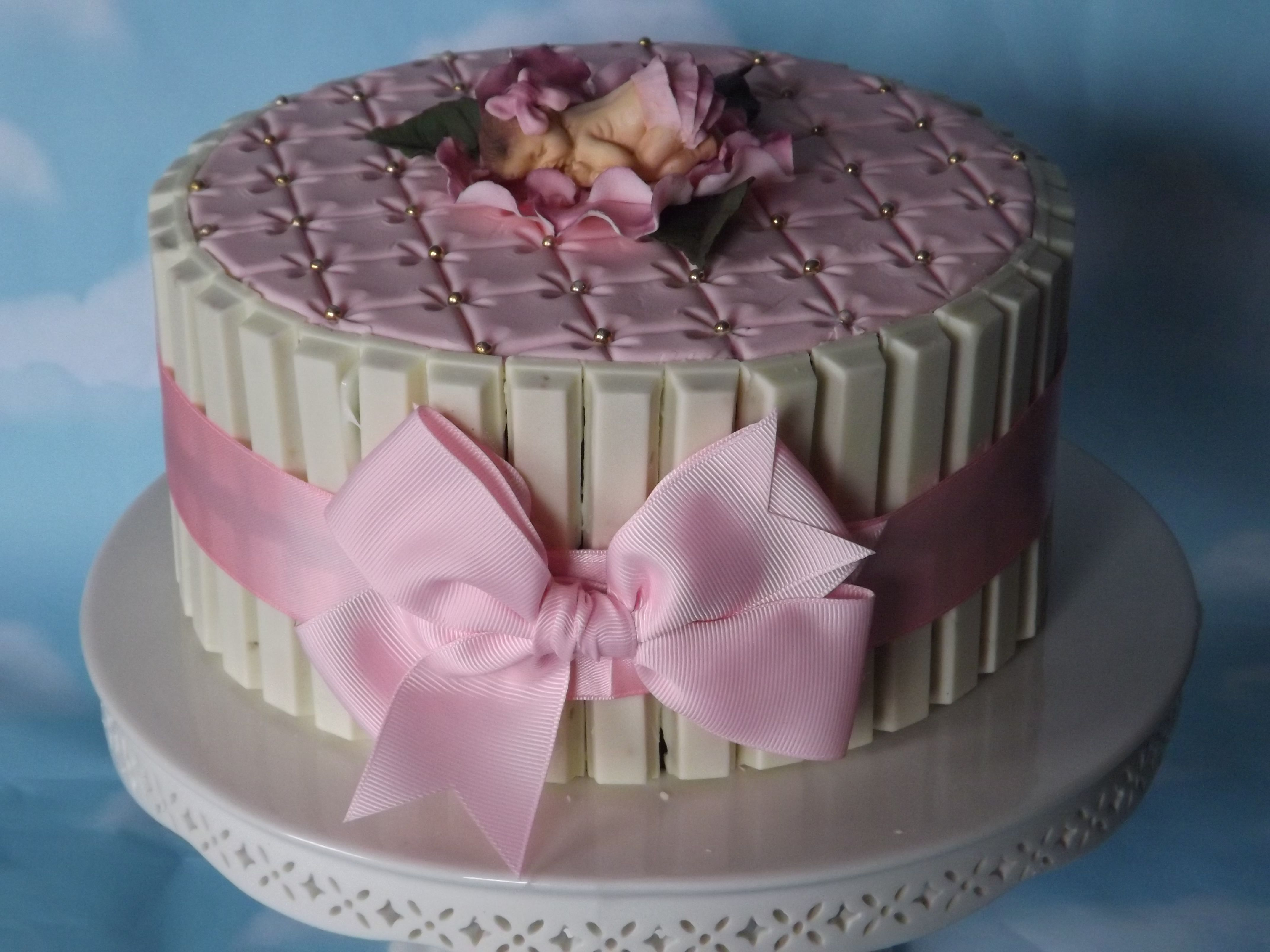 Exceptional Baby Shower Cake Decorating Kits Part - 12: Baby Shower - Baby Shower Kit Kat Cake. Fondant Baby Topper Laying On A Open