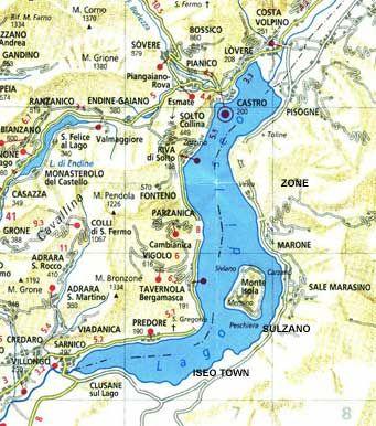 Map Of Lake Iseo Www Iseosee Info Italie Reizen Vakantie