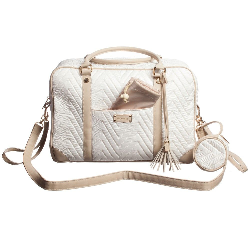 Mayoral ivory lightly padded, quilted diaper bag - love!!