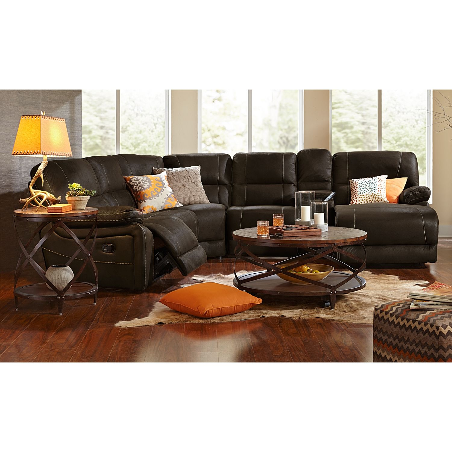 Home on the range relax on our wyoming saddle sectional and youull