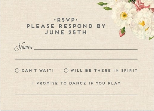 An Rsvp Card That Doubles As A Song Request That S One Way To Get Guests On The Dance Fl Rsvp Wedding Cards Wording Wedding Response Cards Rsvp Wedding Cards