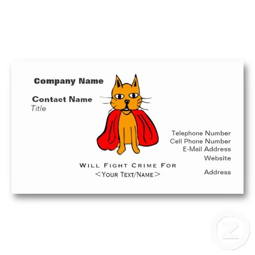 Super Cat Fight Crime For  Business Card Template