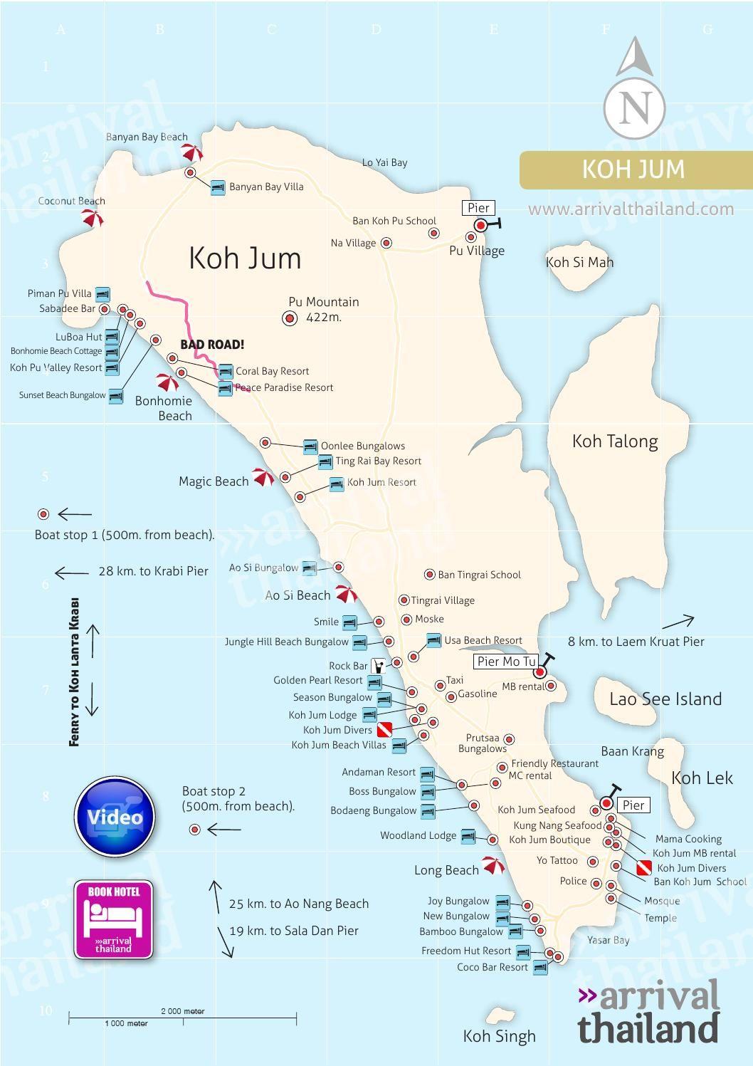 Arrival Thailand Koh Jum Map