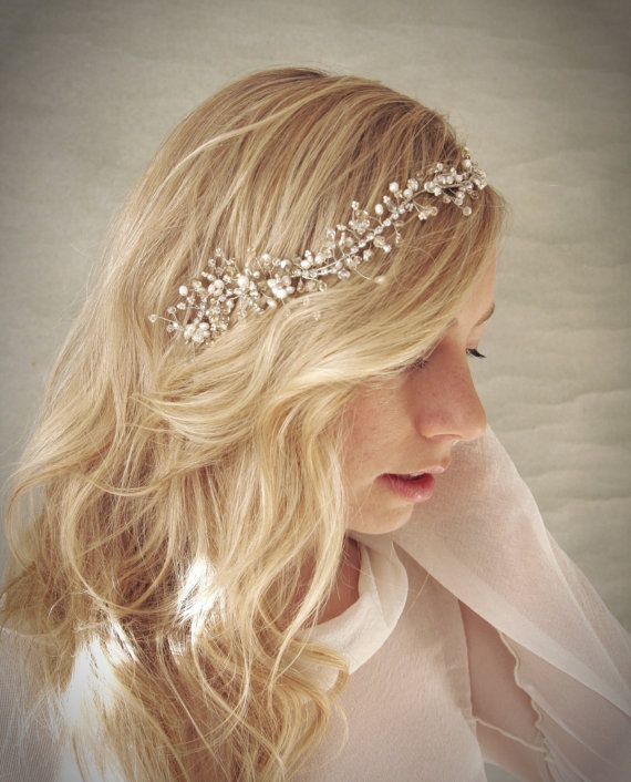 Silver Crystal and Pearl Bridal Hair Vine Wreath with ...