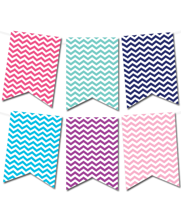 Chevron Pennant Banner In 12 Colors Free Printable