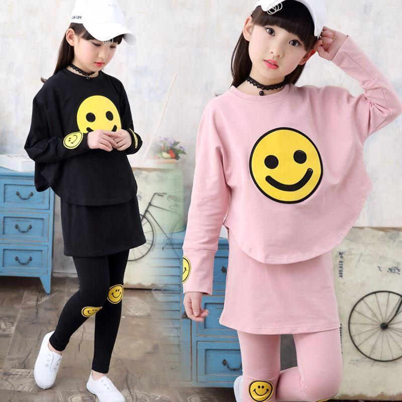 Teenage Girls Clothes Set Toddler Girls Clothing Long Sleeve Print Shirts + Pants 2pcs Children Tracksuit Back to School Outfits #teenagegirlclothes